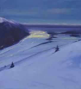 Blaue Stunde in den Bergen, 2014, 60x55 cm