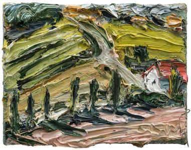 Gehöft im Abendlicht, Öl/Lwd., 2018, 18x24 cm