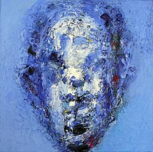Blauer Kopf, Öl/Lwd., 2005, 40x40 cm