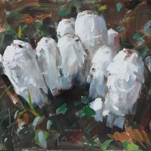 Schopftintlinge, Öl/Hartfaser, 2015, 25x25 cm
