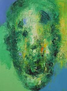 Grüner Kopf, Öl/Lwd., 2004, 65x50 cm