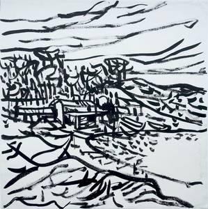 Landschaft, Tusche, um 1965