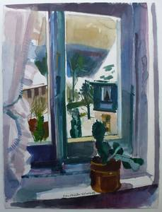 Müller-Linow, Kaktus am Fenster, 1986, 76x56 cm