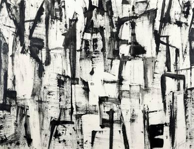Bruno Erdmann, o.T., (Strukturen), Tusche, 1958, 52x70 cm