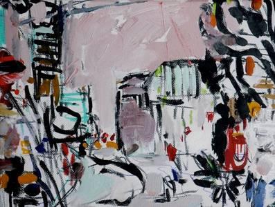 Alfonso Mannella, London City-Spot, Öl/Graphit/Leinwand