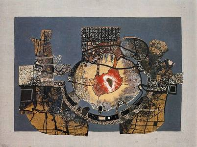 L. Grewenig, Rotes Mittelfeld, Öl/Holz, 1963