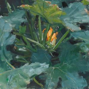 Zucchini, Öl/Hartfaser, 2015, 25x25 cm