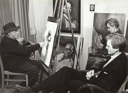 Ludwig Meidner porträtiert Jörg von Kitta-Kittel, Foto um 1958