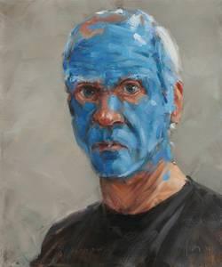 Friedel Anderson, Selbstporträt (blau), Öl/Lwd., 2016