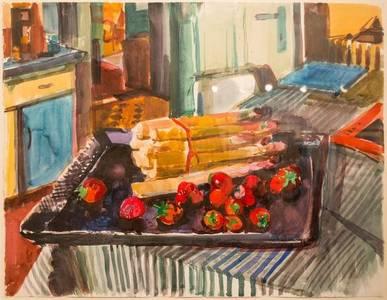 Müller-Linow, Stillleben mit Spargel und Erdbeeren, Aquarell, 1976, 50x65 cm