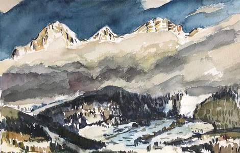 Dachstein hinter Wolken, Aquarell, 2019, 40x60 cm