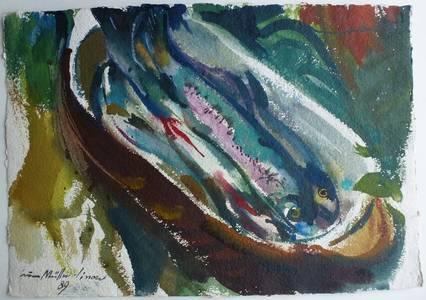 Müller-Linow, Stillleben mit Forellen, Aquarell, 1989, 42x62 cm