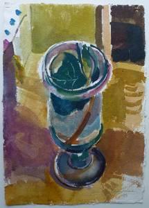 Müller-Linw, Stillleben mit Glas, Aquarell, 1983, 62x43 cm