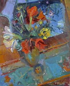 Müller-Linow, Amaryllisstrauß, Öl/Lwd., 1993, 110x90 cm