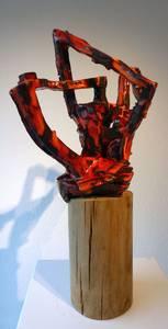 Wurzel, technisch, feuerot, schwarzer Ton glasiert, 2013