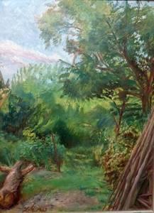 Ludwig Meidner, Garten beim Atelier Marxheim, Öl/Malpappe, 1956, 80x60 cm