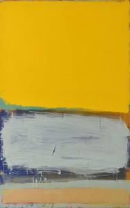 Werner Schmidt, Ohne Titel (Gelbes Bild) Mischtechnik/MdF/Eiche, 210x130 cm