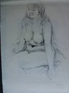 Grzimek, Sitzende, Lithographie, 1974