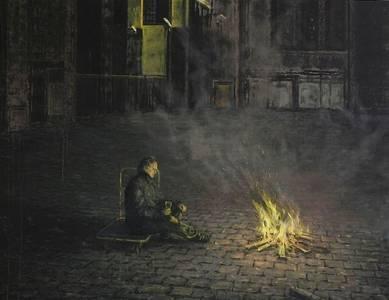 Helge Hommes, Helge macht Feuer, Oel/Lwd.