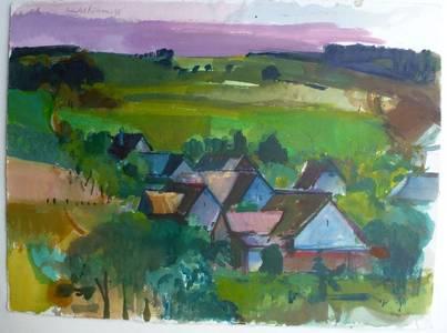 Müller-Linow, Thalkleinich, Aquarell, um 1988, 55x76 cm