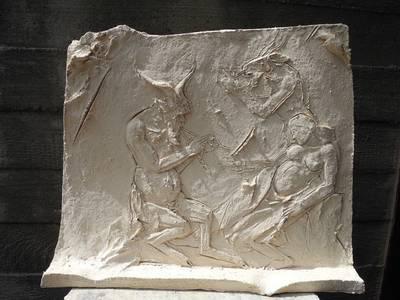 Antike Erzählungeen (Minotaurus und Akt), Terrakotta, 2019