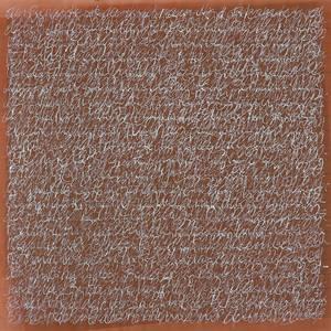 Peter Thoms, O.T. (Schriftblatt auf rostbraun, Mischtechnik/Papier, 2000, 60x60 cm, Foto: Ute Döring