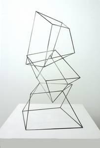 A. Lincke-Zukunft, Auf dem Sprung, Holzstäbe schwarz, 2006