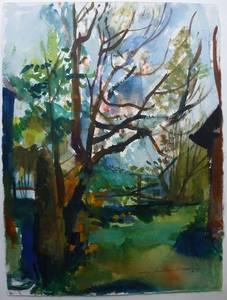 Müller-Linow, Hinter dem Haus in Hochscheid, Aquarell, 1989, 72x57 cm