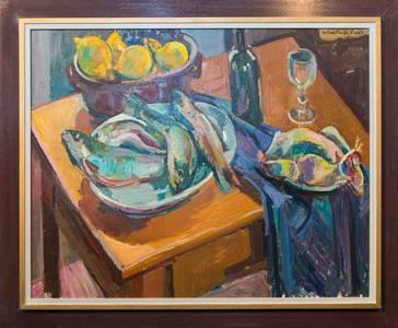 Müller-Linow, Stillleben mit Forellen, Öl/Lwd., 1988, 80x100 cm