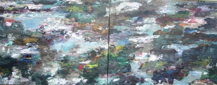 Modell einer Landschaft, Öl/Lwd., 80x100 cm