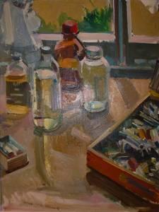 Müller-Linow, Malerstillleben, Öl/Lwd., 1988, 90x70 cm